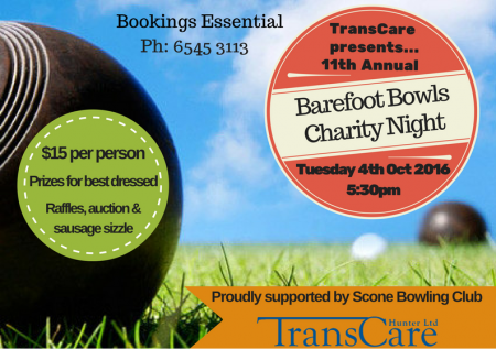 Barefoot Bowls Charity Night at Scone Bowling Club