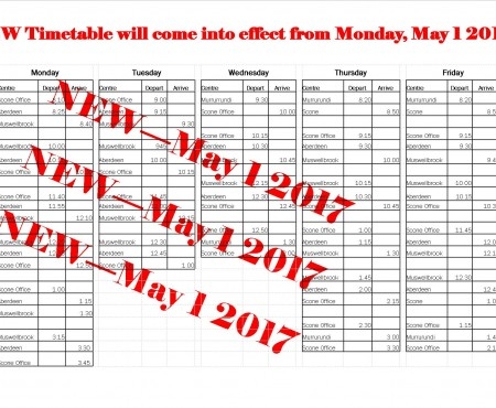 TransCare bus timetable changes from May 2017
