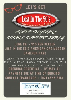 Lost in the 50's Hunter Region Social Support Outing